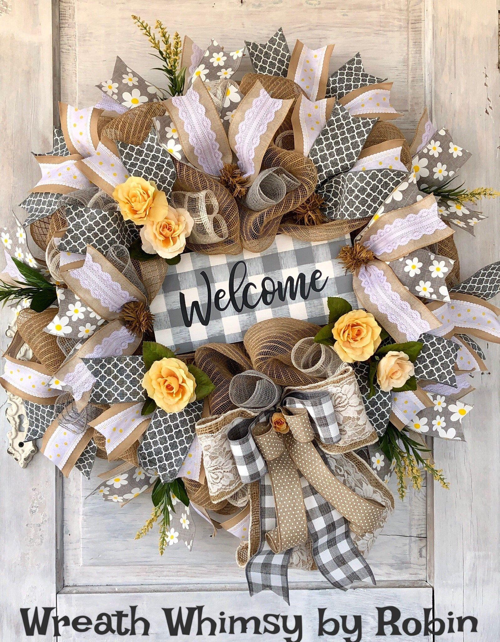 Everyday Wreath Burlap Mesh Wreath Door Wreath Welcome Burlap Mesh Wreath Yellow Wreath Spring Wreath