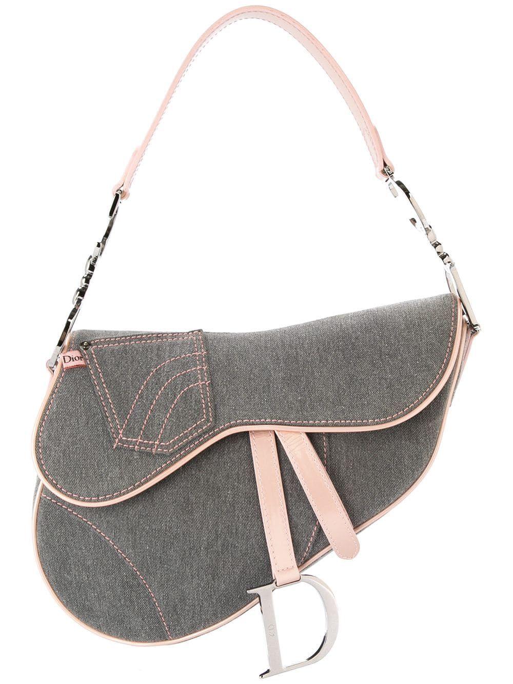 Christian Dior Pre Owned Denim Saddle Handbag Farfetch Saddle Handbags Vintage Dior Bag Dior Purses