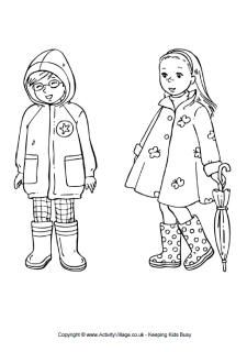 Spring Clothing Colouring Page Boy And Girl In Spring Clothes