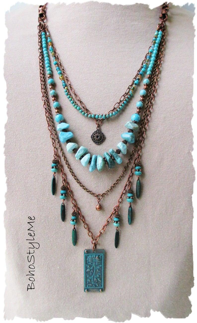 Hippie necklace Boho jewelry Boho necklace earrings set Blue necklace Blue stone necklace Handmade necklace Bohemian Hippie jewelry