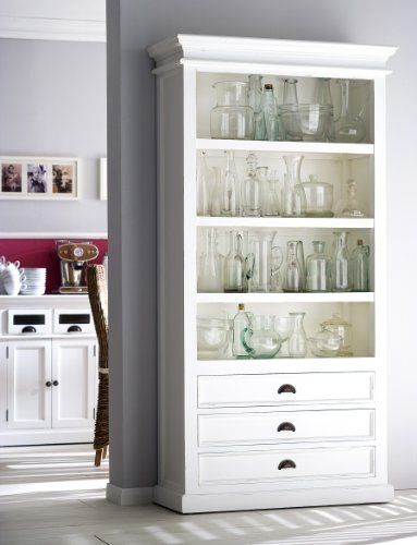 For The Hallway? Interior White Distressed Bookcase Made