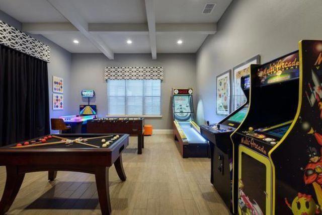 Extraordinary Basement Paint Colors Finishedbasement Basementdwellers Basementlayout Simplyelegant Small Game Rooms Arcade Room Arcade Game Room