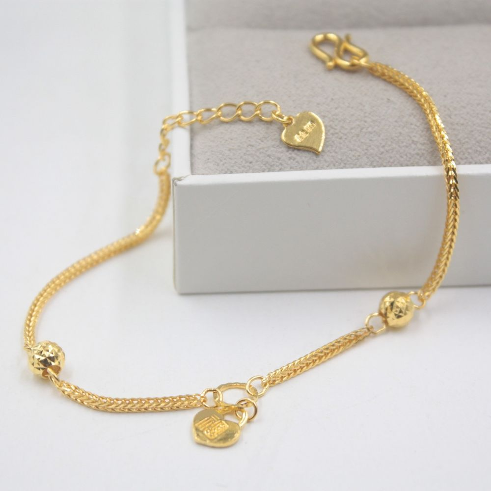 New pure k yellow gold bracelet womanus lucky wheat link mm round