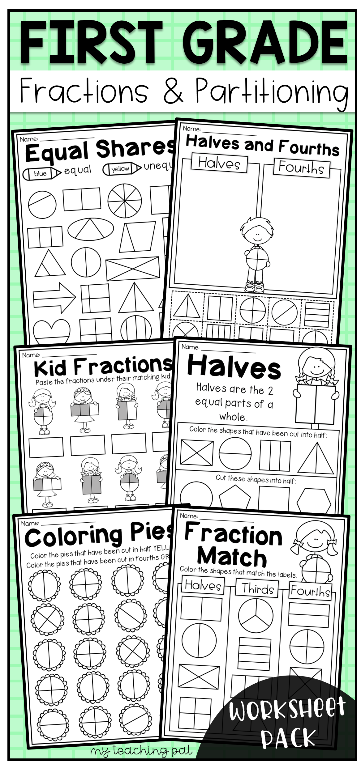 First Grade Fractions And Partitioning Worksheets Distance Learning First Grade Math Fractions Worksheets First Grade Worksheets