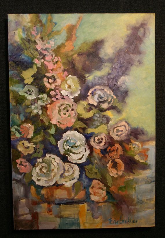 Contemporary Art Original Floral Abstract Purple by EneLocklier