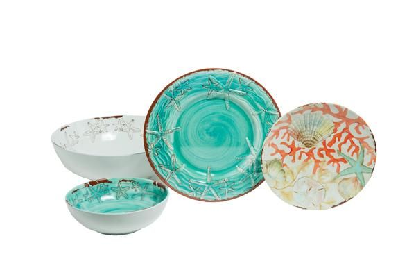 Turquoise u0026 White Starfish u0026 Reef Plates and Bowls from Galleyware...   sc 1 st  Pinterest & Turquoise u0026 White Starfish u0026 Reef Plates and Bowls from Galleyware ...