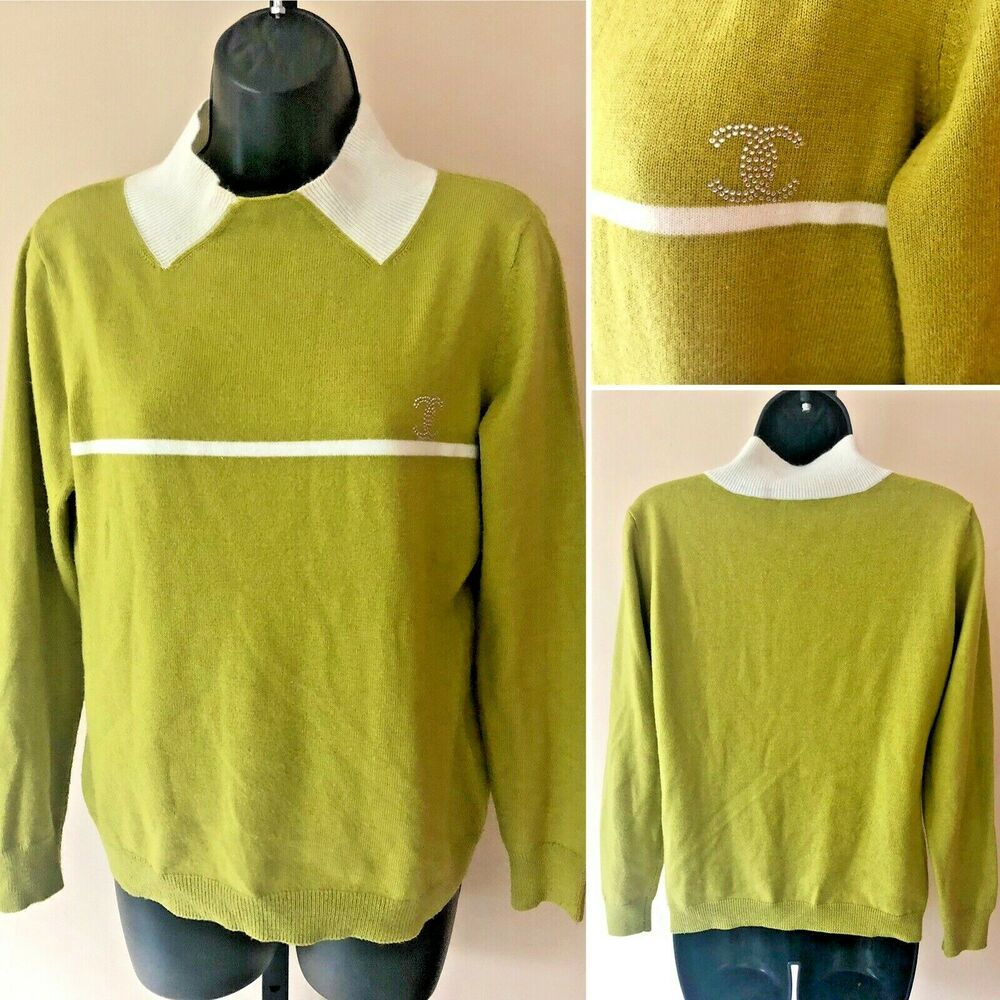 6f6632a07 Vintage Chanel 1990s Crystal CC Logo Cashmere Pullover Sweater S/M ...