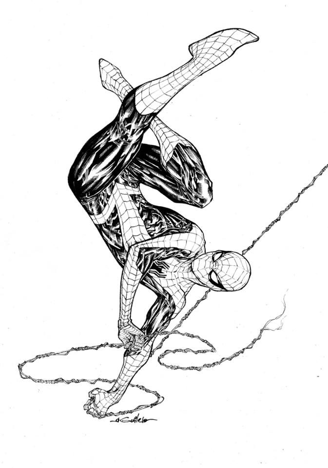 The Amazing Spider-Man swinging upside down...by Guile