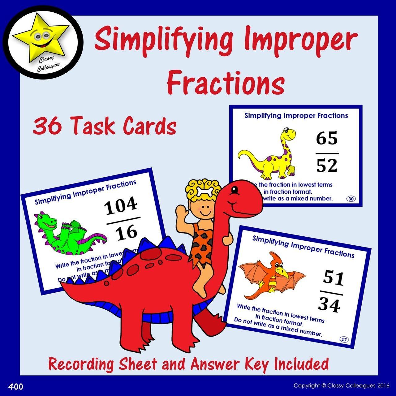 Simplifying Improper Fractions Task Cards