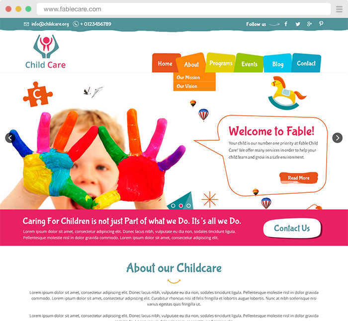 Child Care Preschool Website Designs Template Children Templates Young