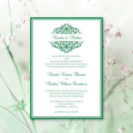 Printable Wedding Invitation Template Grace Dark Emerald Green