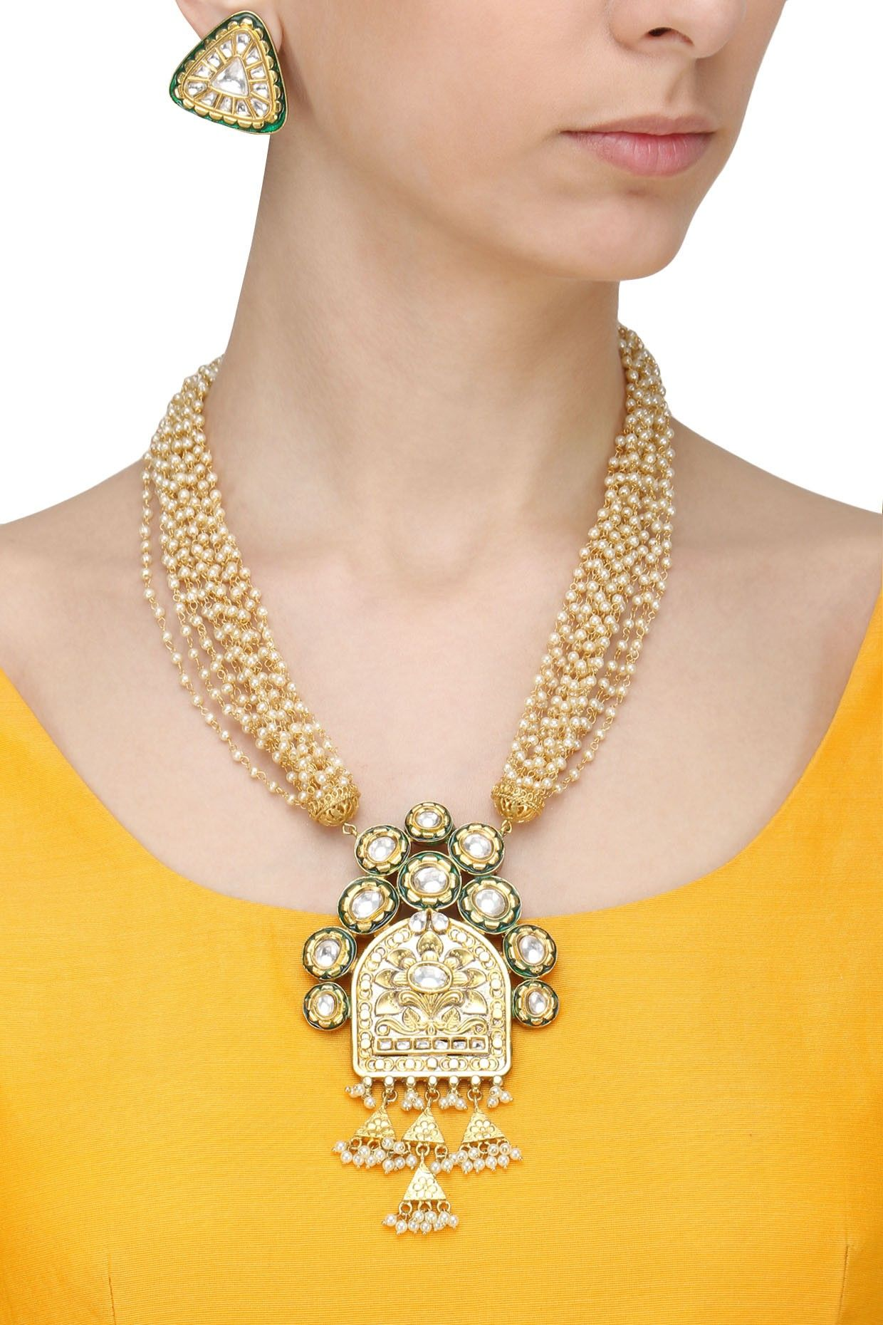 Anjali jain gold finish textured pendant pearl chain necklace set