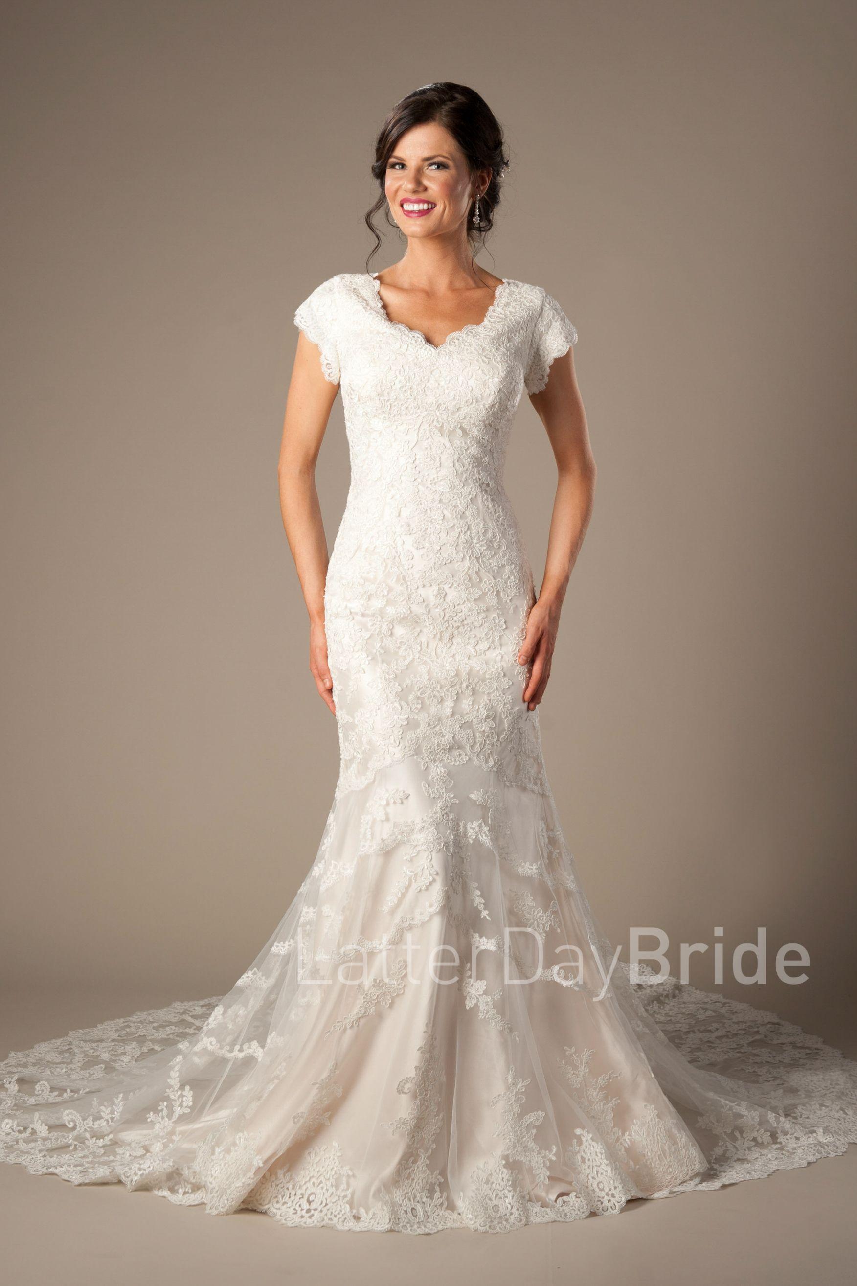 Cheap modest wedding dresses  Modest lds Wedding dress with lace  later day bride  Pinterest