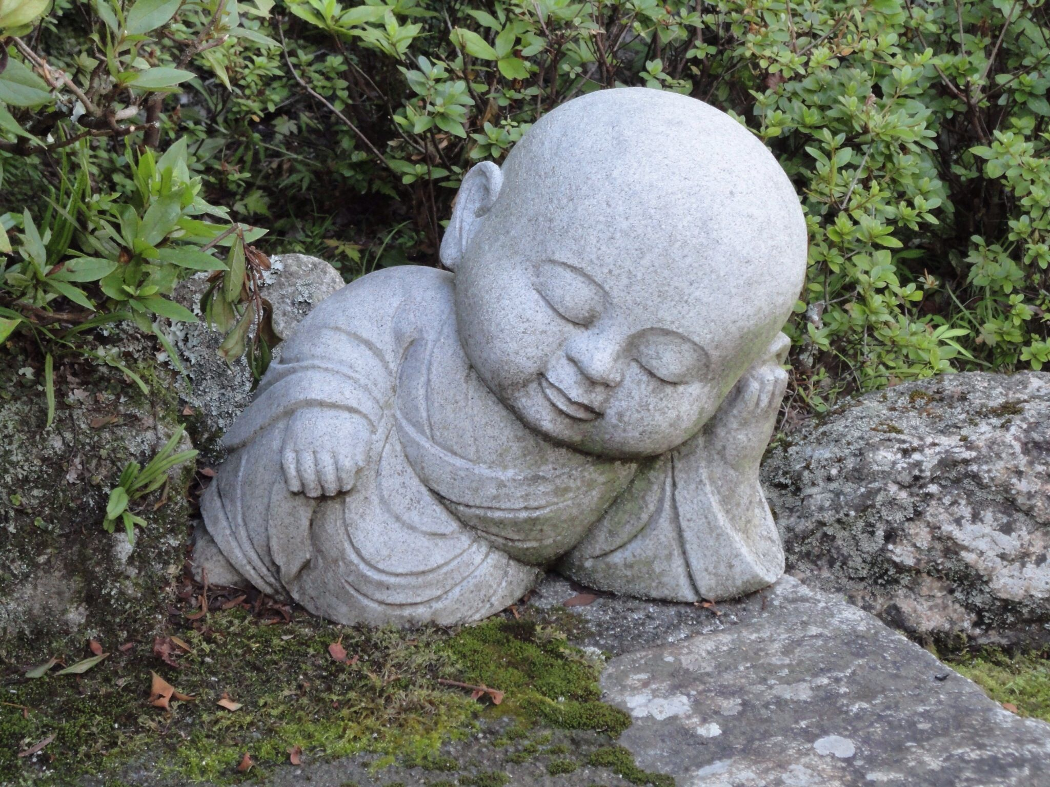 Baby Buddha Asleep In Japanese Garden Garden Statues, Garden Sculpture, Art  Sculpture, Buddha