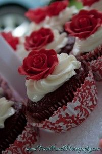 Red Velvet cupcakes w/Amaretto Buttercream for friends wedding....picture taken by Travis Ranch Photography