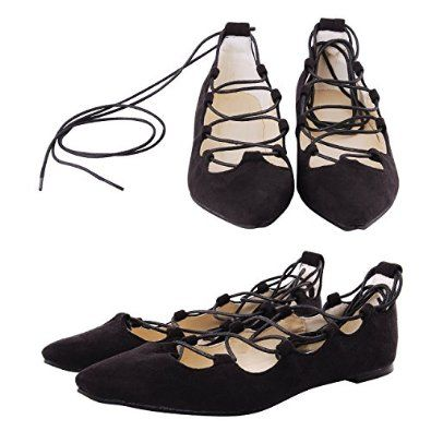 The product is a leather lace-up flats with an elegant pointed toe. Dark synthetic leather composes these scalloped flats in a pointed-toe silhouette. Lace-up ties finished with polished aglets which make it trendy.