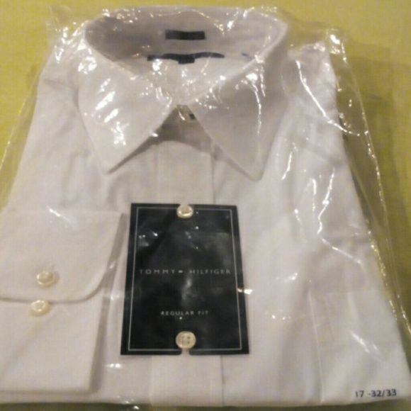 Mens long sleeve white dress shirt Large mens Tommy Hilfiger dress shirt Tommy Hilfiger Shirts