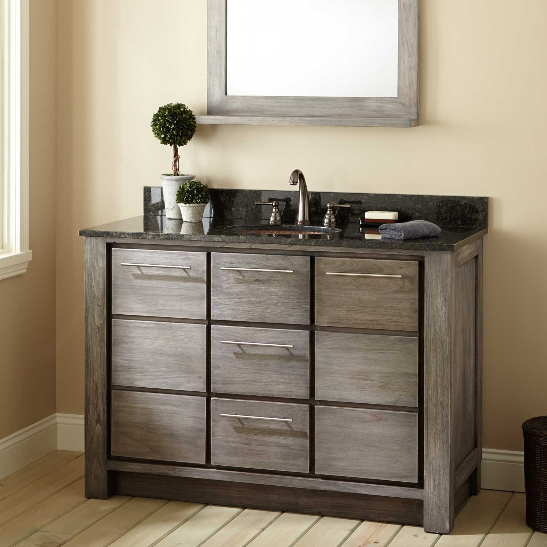 "48"" Venica Teak Vanity for Undermount Sink Gray Wash"