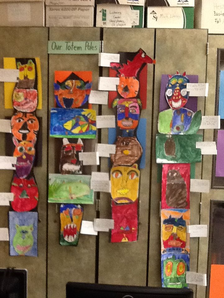 Totem Pole Each Student Uses Crayon To Draw Totem After