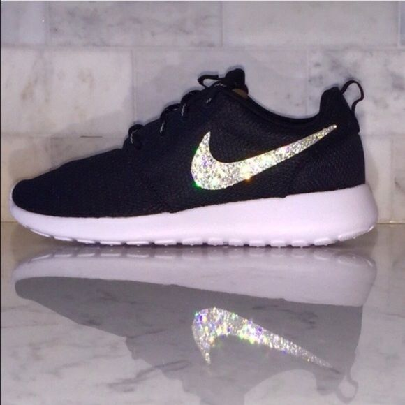 best sneakers d1748 4a552 Swarovski element flat back crystal. Message me if you need different size  or different color Roshe. Crystal Bling Swarovski Black Nike Roshe Nike  Shoes For ...