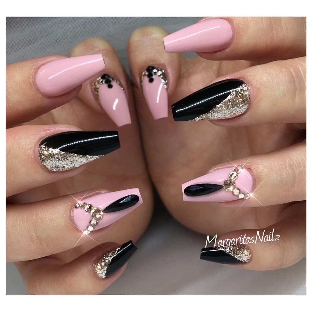 Pink And Black Coffin Nails Fall Nail Art Fashion Rose Gold Design