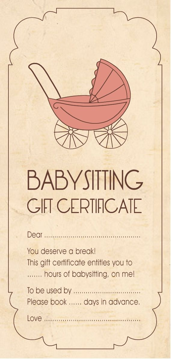Template For Baby Sitting Gift Certificate Babyshower
