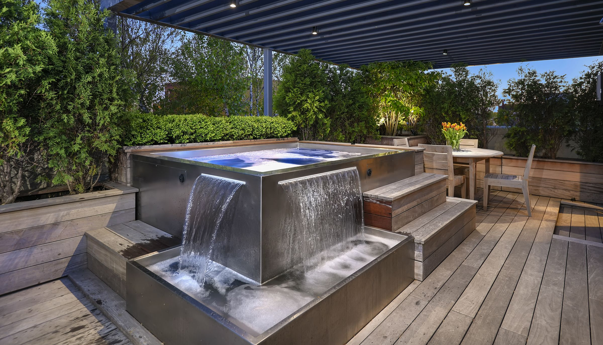 Stainless Steel Spa With Two Water Fall Features With