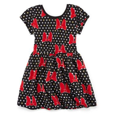 f8731f103f143 Disney Minnie Mouse Short-Sleeve Polka Dot Bow Dress – Girls 7-16 found at @ JCPenney