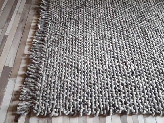 Wool Rug Woven Gray Area Rugs 8x10 Handwoven Rugs Scandinavian