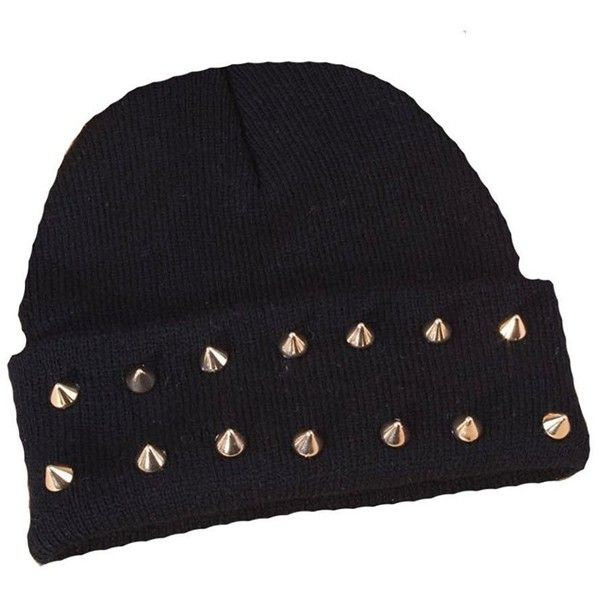 Imixlot Rock Hip-hop Studded Spike Rivet Stud Knit Beanie Hats Various... ($1.49) ❤ liked on Polyvore featuring accessories, hats, knit hat, knit beanie caps, rock hats, beanie hat and studded beanie