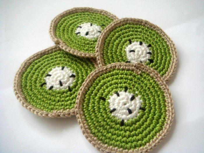 crocheted fruit coasters | Half kiwi fruit coasters (set of 4) Entertaining Eco ... | crochet