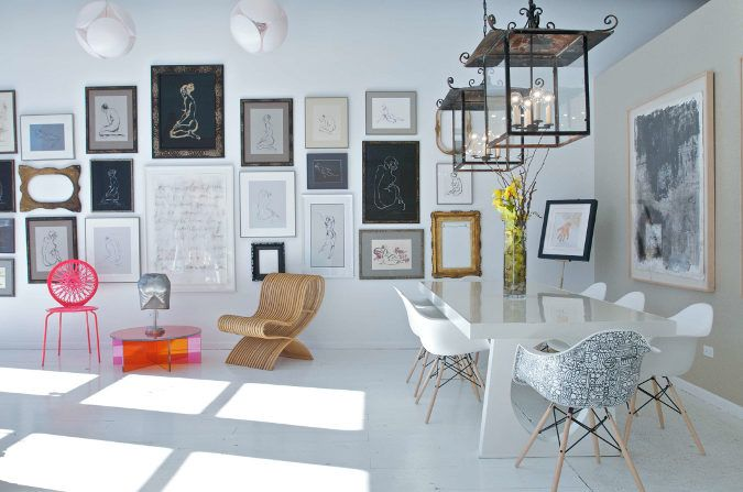 art-wall and light fixtures