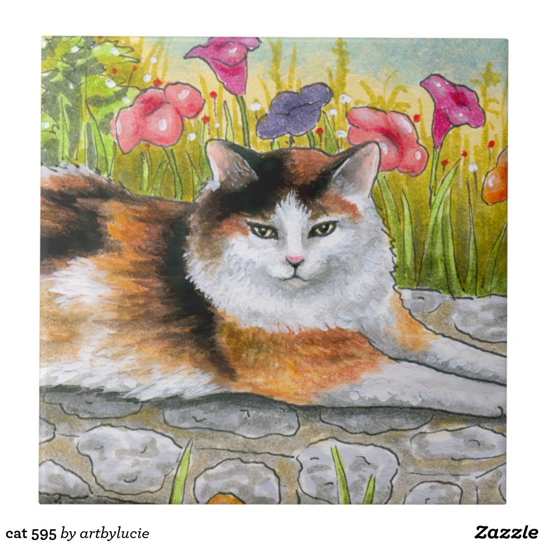 ACEO miniature art print from art painting Cat 595 Tortieshell Tortie by L.Dumas