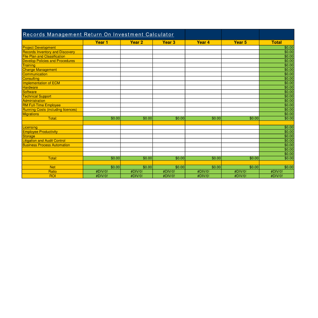 records management roi calculator use the records management return on investment calculator spreadsheet to generate