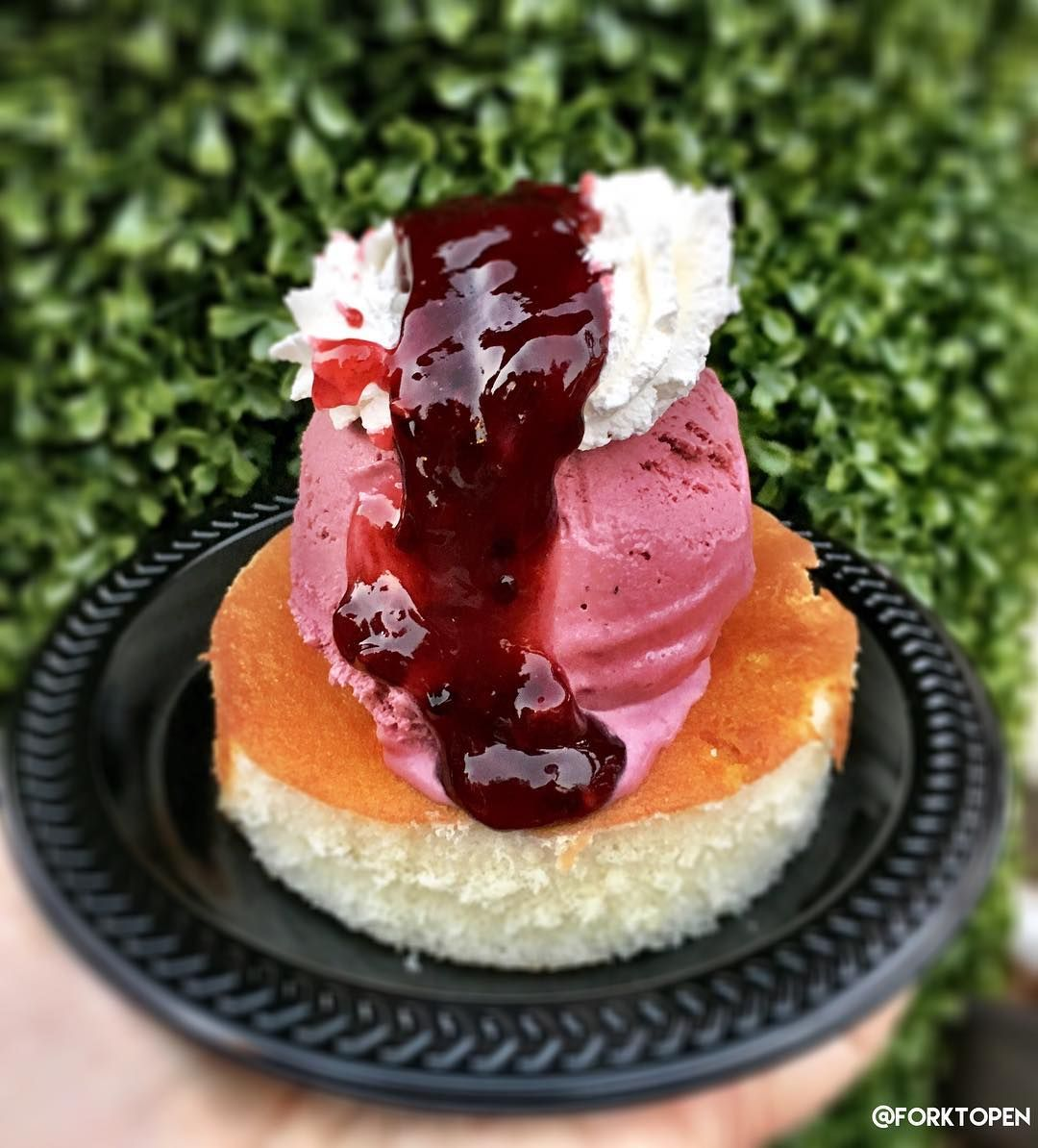 Good news folks! It's day one of the #BoysenberryFestival at Knott's Berry Farm!  From now until April 3rd indulge yourself with over 70 boysenberry items including this Trifle - a vanilla cake topped with boysenberry ice cream boysenberry compote and whipped cream.
