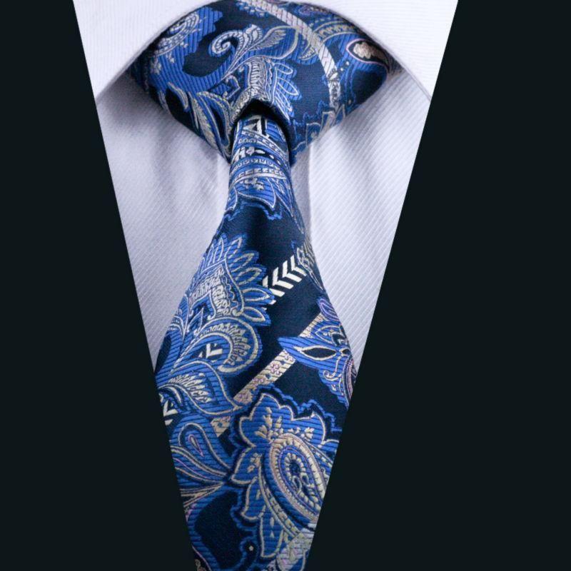 USA Classic Blue Brown Paisley Silk Necktie Jacquard Mens Tie Set Wedding Party