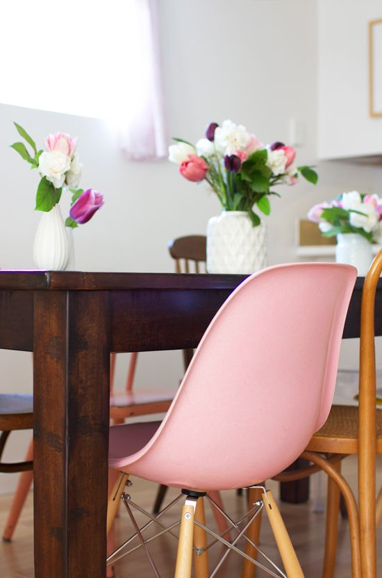 Modernica Giveaway | Pink chairs and Eames chairs