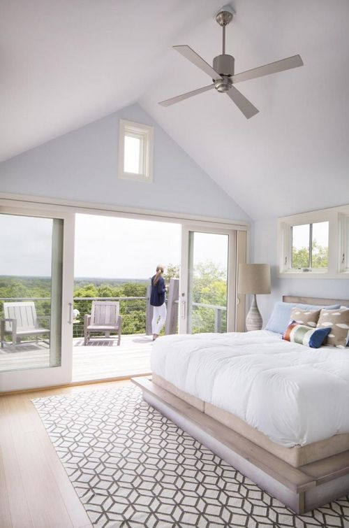 Hutker Architects Goes Graphic On Martha S Vineyard Master Bedrooms Decor Airy Bedroom High Ceiling Bedroom