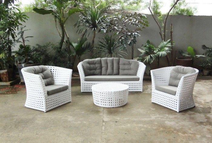 gartengestaltung ideen gartenmöbel rattan weiß | gartengestaltung, Garten Ideen