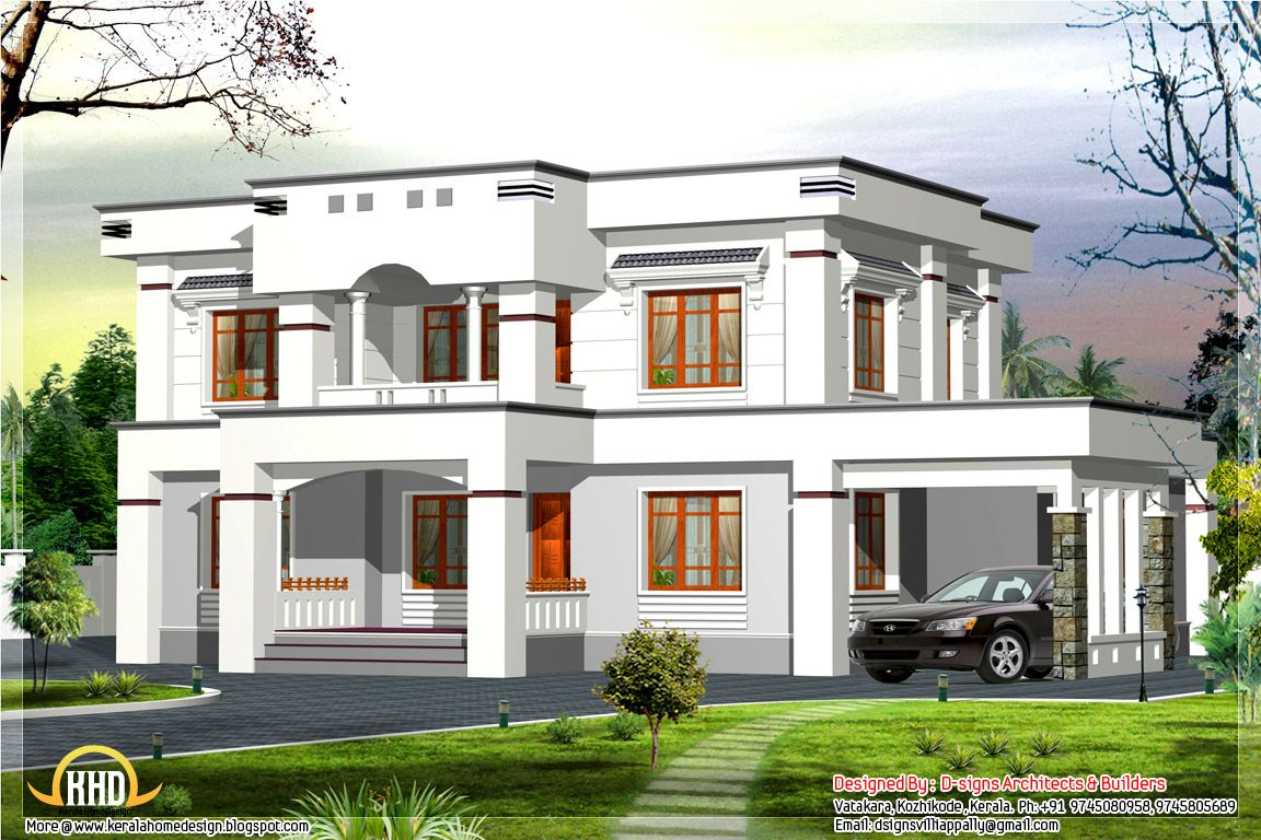 Stylish Flat Roof Home Design 2400 Sq Ft Flat Roof House Kerala House Design House Front Design