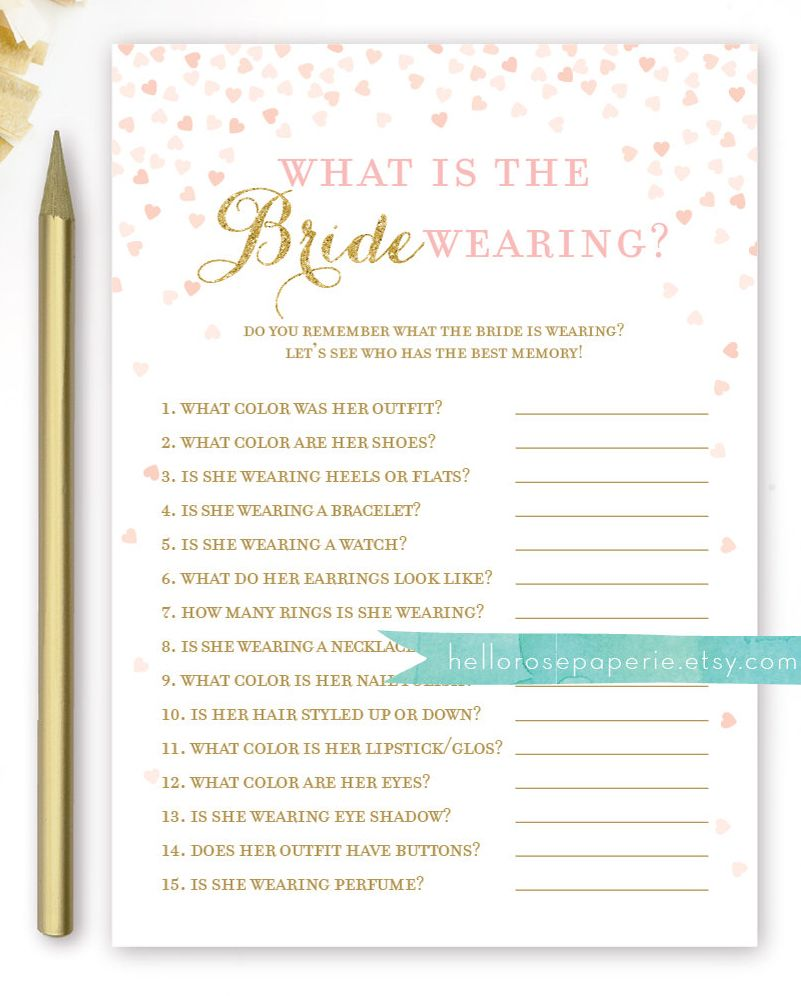 what is the bride wearing bridal shower game printable instant download bridal shower games gold glitter pink hearts