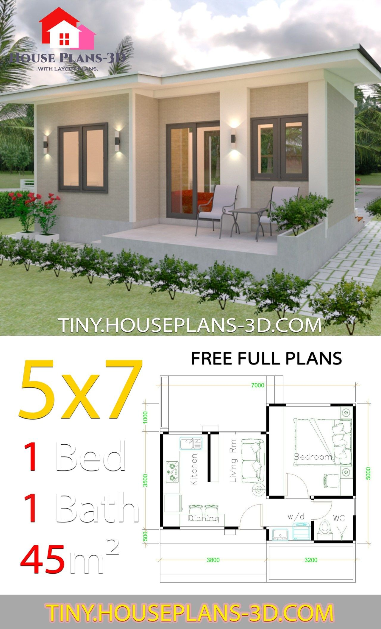 Small House Design Plans 5x7 With One Bedroom Shed Roof Tiny House Plans Small House Design Plans Simple House Plans One Bedroom House