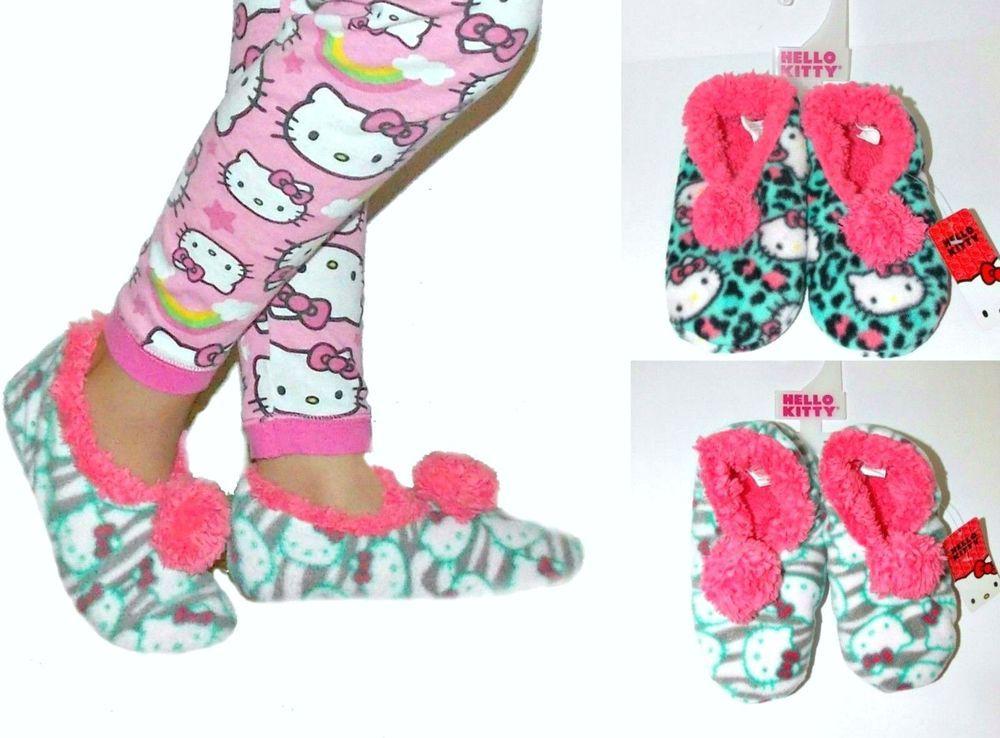 8d935f471255 2 pairs NWT Sanrio Hello Kitty Pom Pom Fleece Slipper Socks for GIRLS  11/12-2/3 #HelloKitty #SlipperSocks