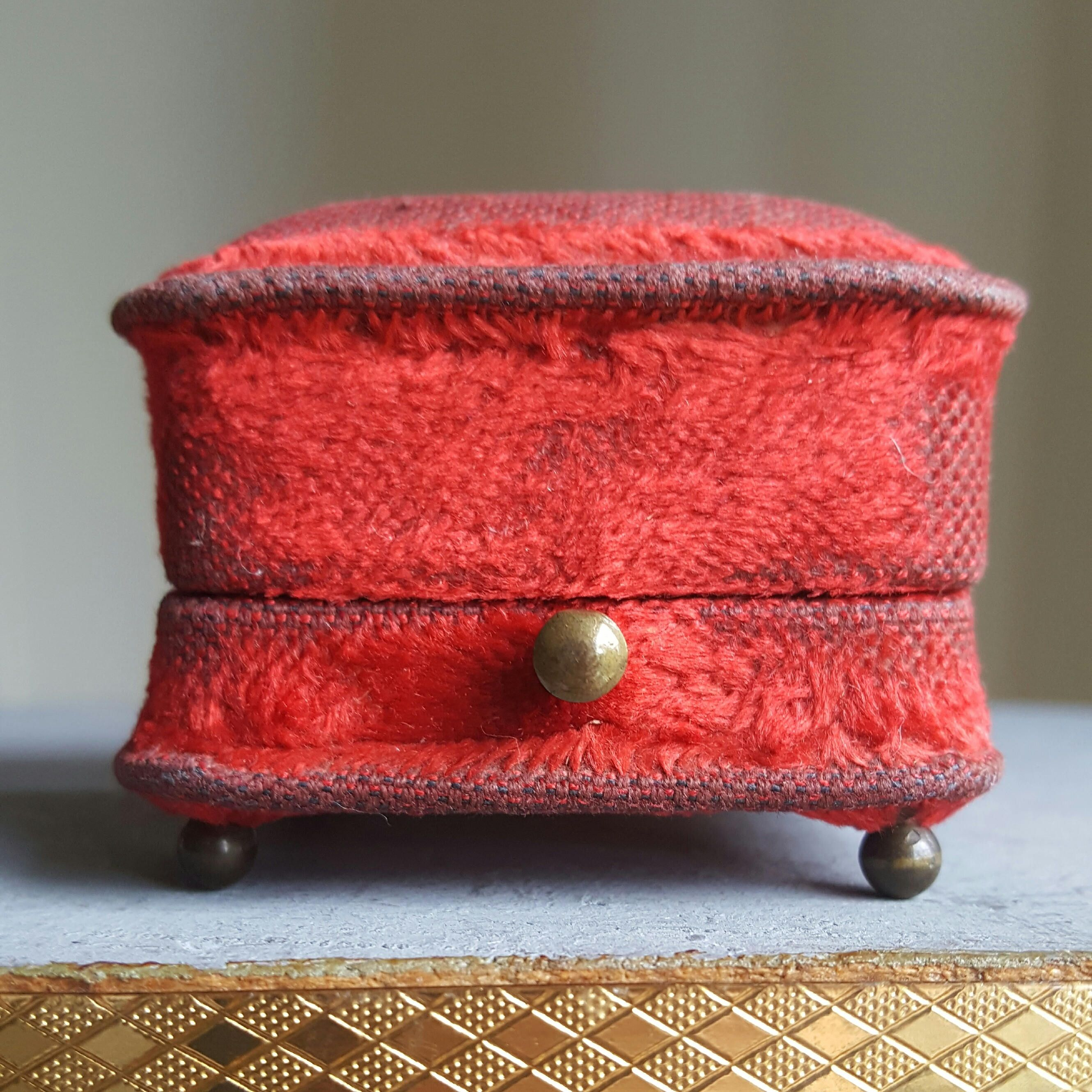 Antique Spanish Red Velvet Earring Box Jewelry Box Jewelry Display