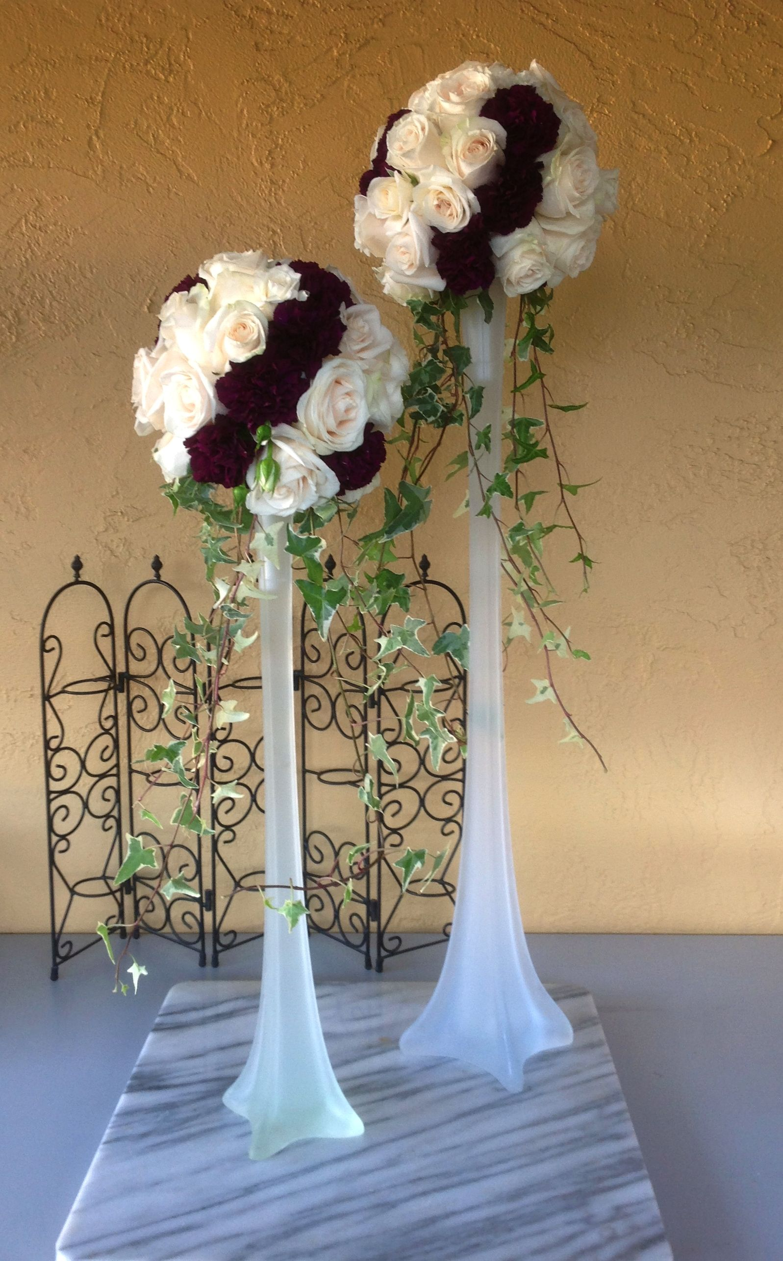 Ivory rose vendella and purple carnation with ivy trails in ivory rose vendella and purple carnation with ivy trails in frosted vases reviewsmspy