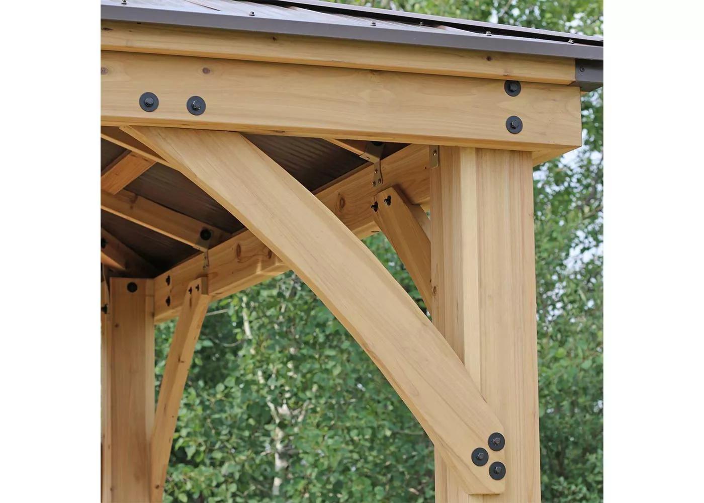 Meridian 10 X 10 Gazebo Brown Yardistry In 2020 Gazebo Wooden Gazebo Backyard Spaces