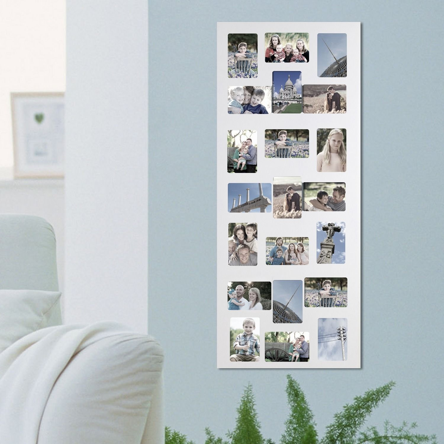Adeco Decorative White Wood Wall Hanging Collage 4X6 Photo Frame