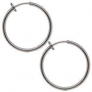 Silver Finish Spring Hoop Hoops Clip On Earrings Closure Bangle Medium 25 Mm 1 Inch Diameter For Un Pierced Ears Women And
