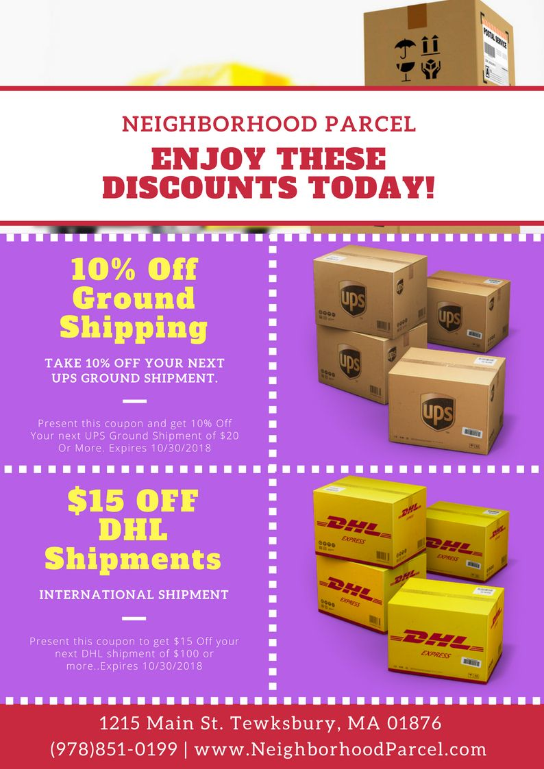 Shipping Discount Coupon for UPS, DHL at Neighborhood Parcel
