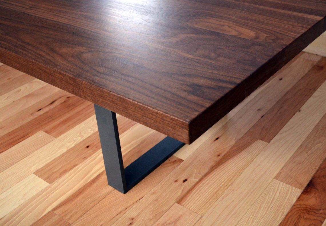 Modern Solid Walnut And Powder Coated Steel Coffee Table Etsy Steel Coffee Table Solid Walnut Coffee Table Stand [ 791 x 1140 Pixel ]